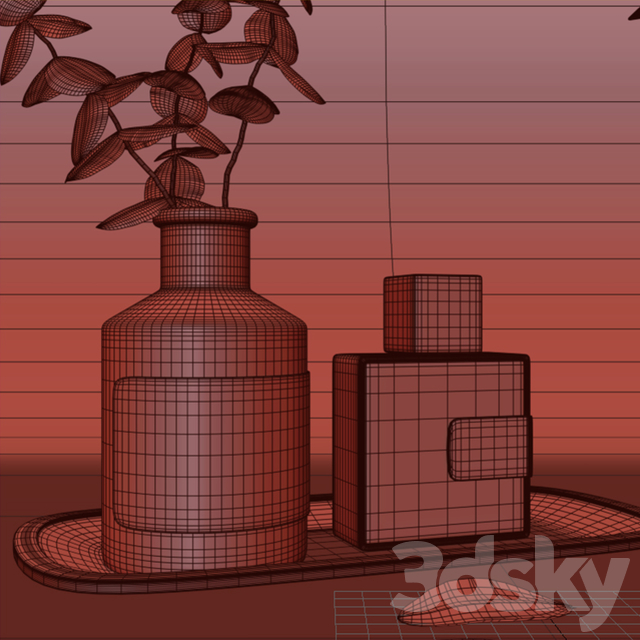 Decorative set with eucalyptus in a vase