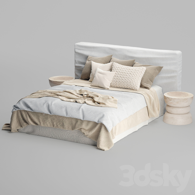Zulu Upholstered Bed White