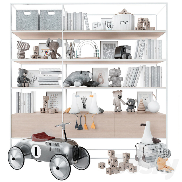 Bookcase with toys and books.