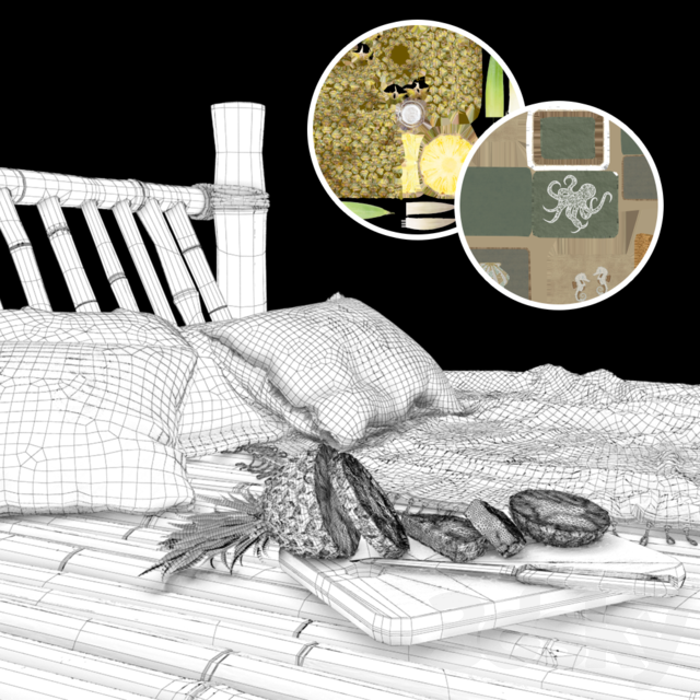 Bamboo hut with bed