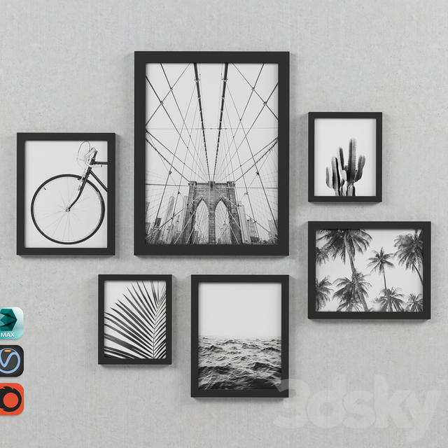 Black & White Photography Framed Gallery Wall Set-002