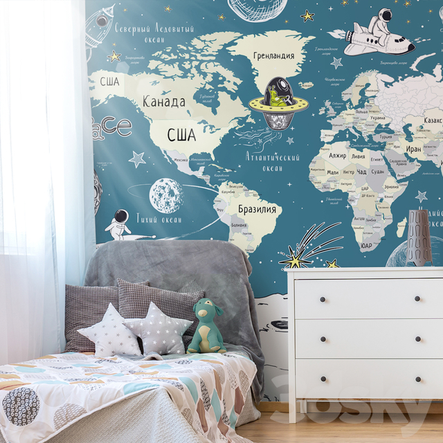Creativille   Wallpapers   World Map with Cosmonauts