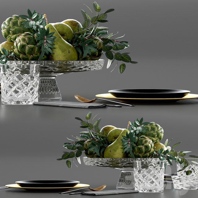 Table setting with Fruits in crystal vase