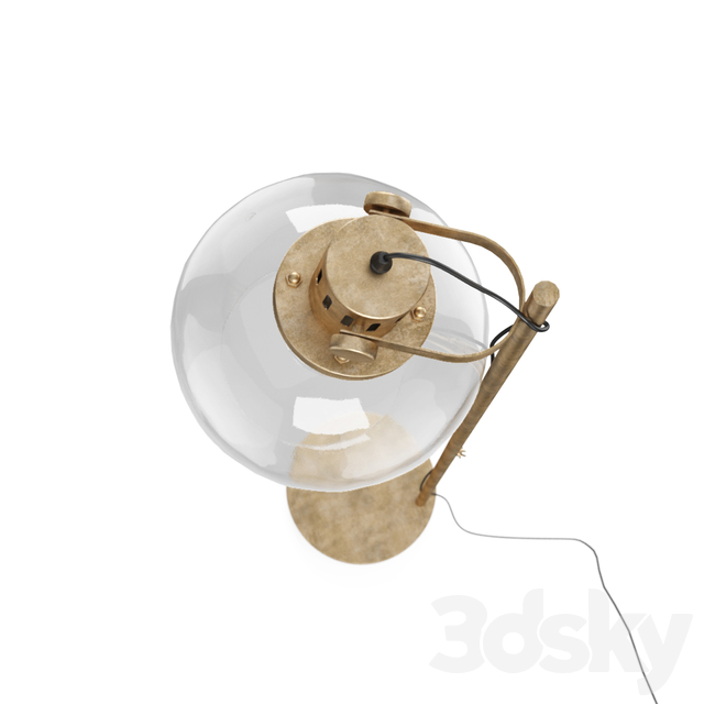 ALEY - floor lamp in golden metal and glass globe