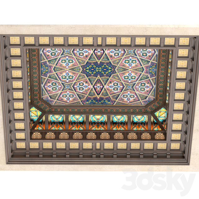 Oriental style ceiling. Arabic ceiling set