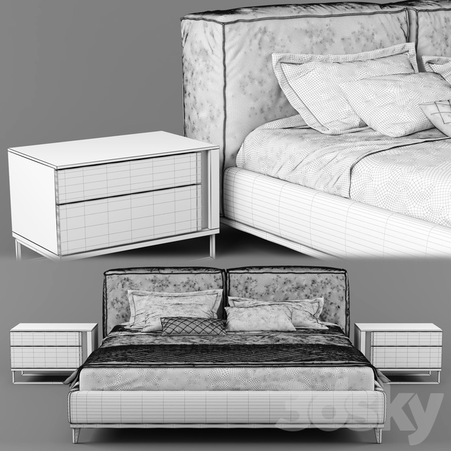 Modern fabric bed with upholstered headboard_01