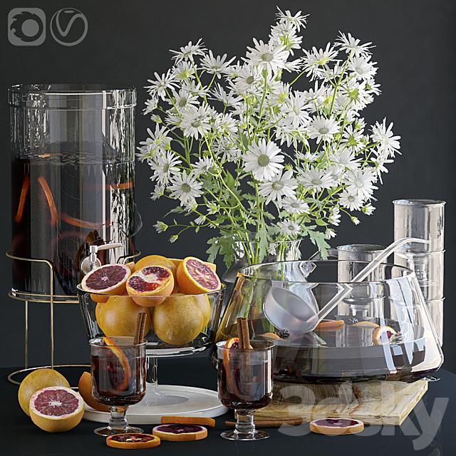 Decorative set with grapefruits.