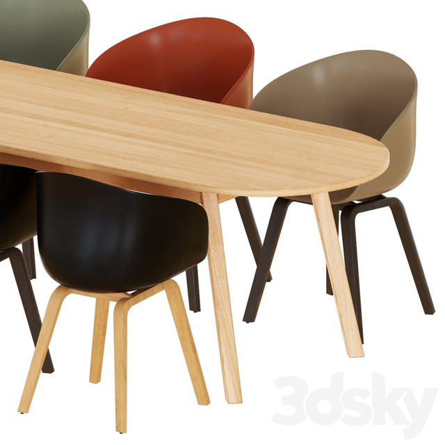 Hay Triangle Leg Table and Chaies