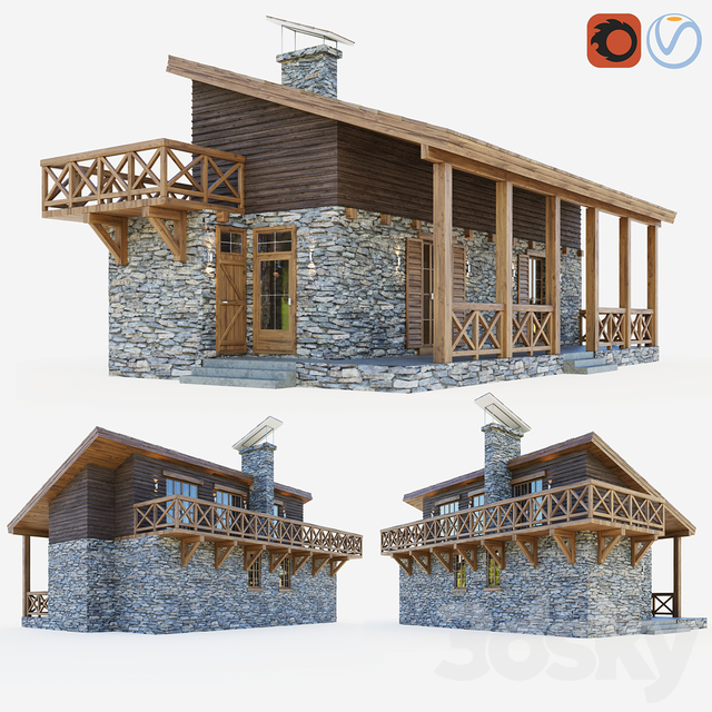 Container cottage in the style of a Swiss chalet