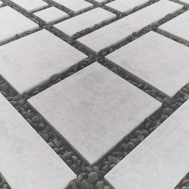 Tile square pebble low 2 n2 / Area from slabs with pebbles No. 2