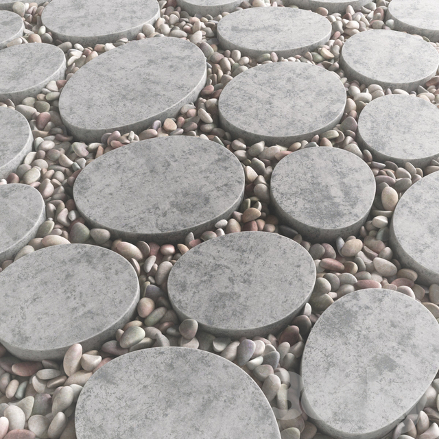 Tile square oval pebble n1 / Square oval slabs with pebbles