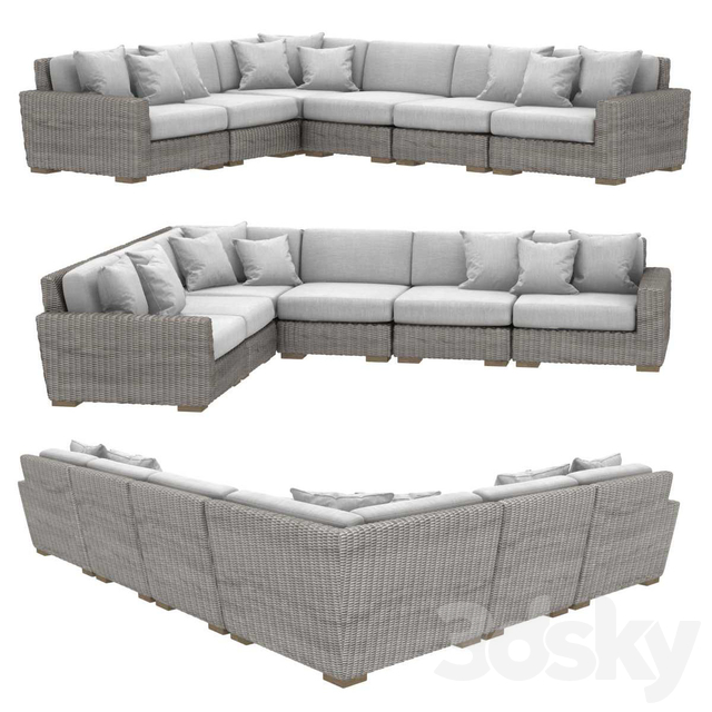 Restoration hardware BIARRITZ MODULAR L-SECTIONAL sofa