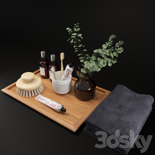 LA Bruket decor set for bathroom with Hamelia Patens plant