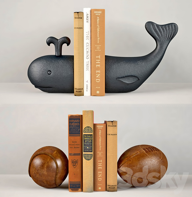 Whale and Vintage leather sports ball bookends RH