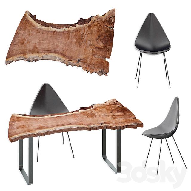 Wood slab table set