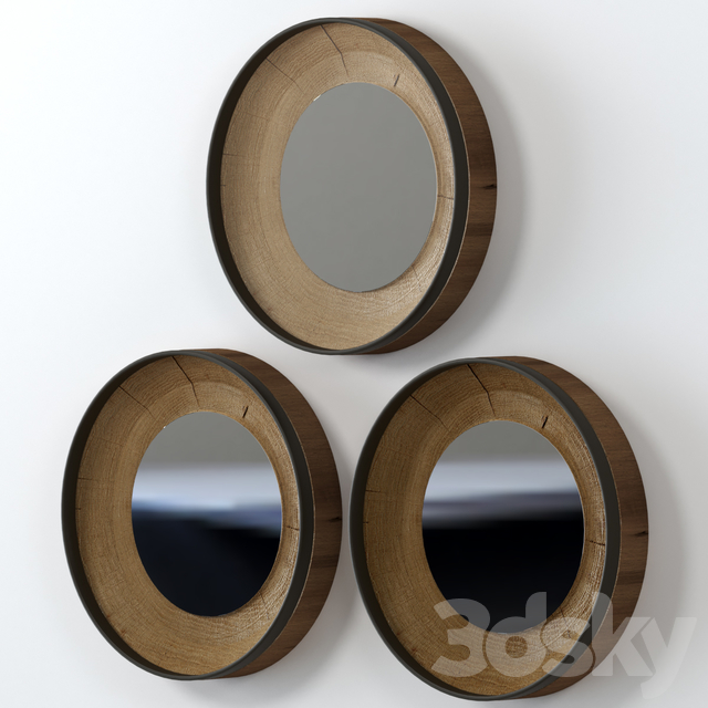 A collection of round slab mirrors.