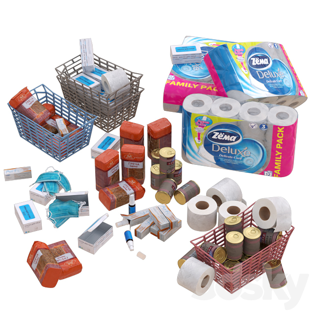 A set of products and household items to deal with a pandemic