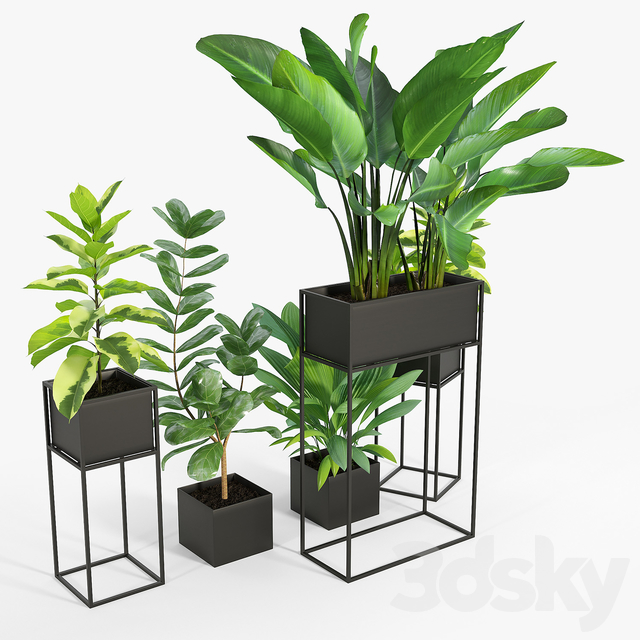 NEW Three Black Standing Planters 01