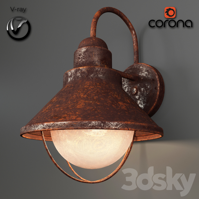 rusted wall light