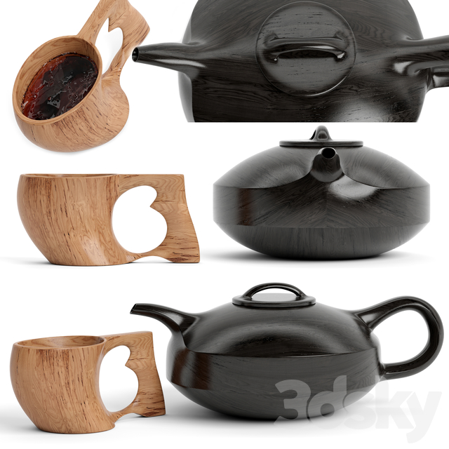 wood cup and teapot