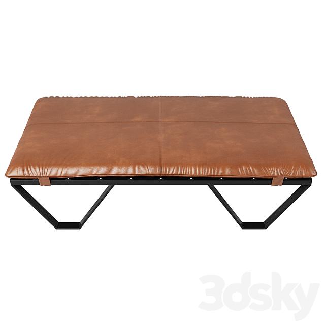 Darrow Tan Leather Ottoman