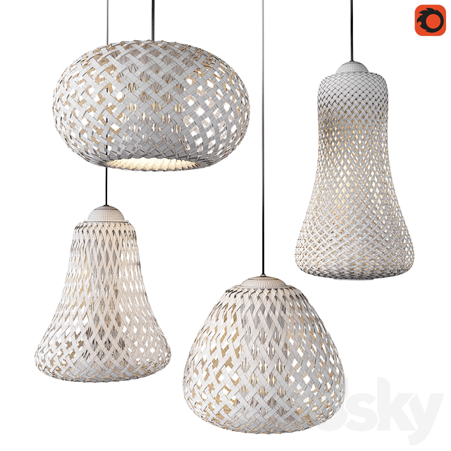 Set of wicker lamps from bamboo_2