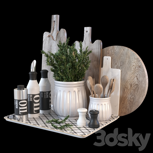 Decorative set for the kitchen with rosemary