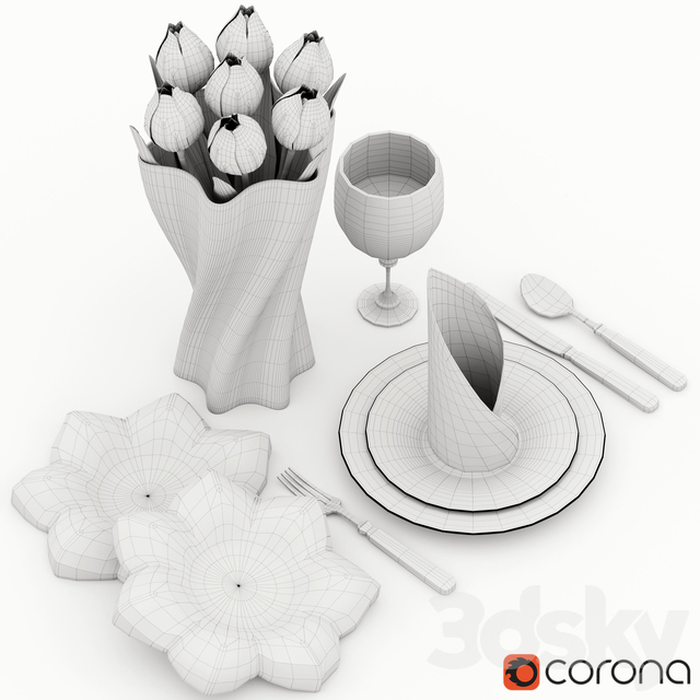 Tableware with tulips
