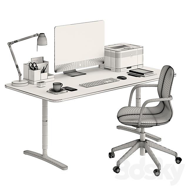 Ikea BEKANT desk and LÅNGFJÄLL Chair