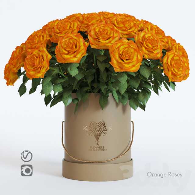 Bouquet of orange roses in a hat box