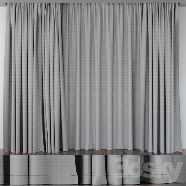 Curtain light brown with piping