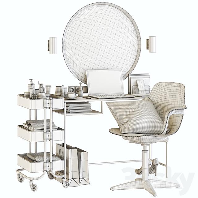 ikea VITTSJO dressing table with ODGER chair and EASKOG cart