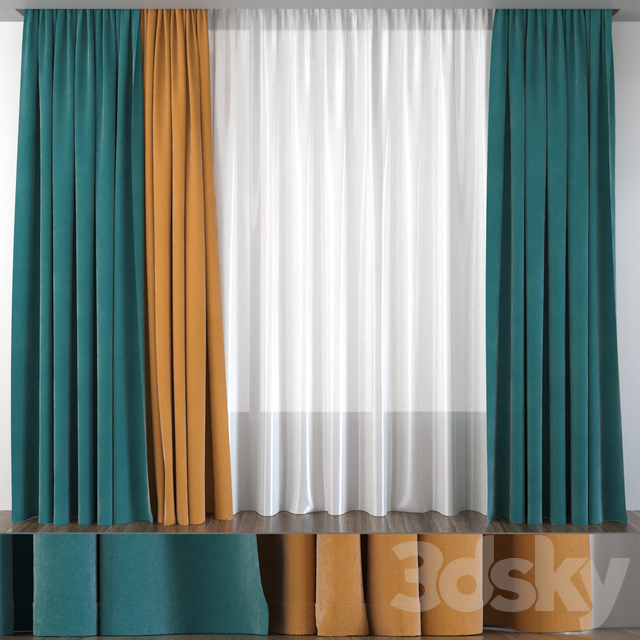 Curtains green with mustard