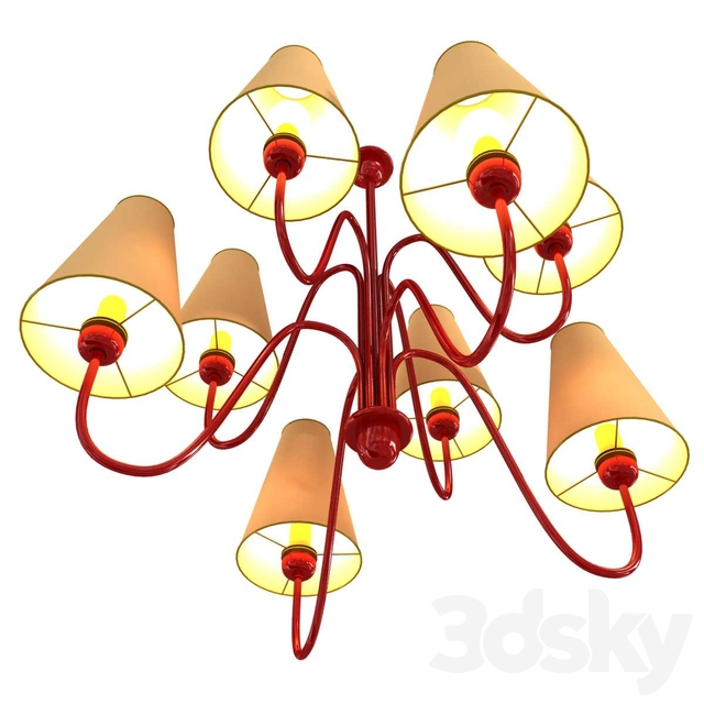 Custom made 8 lamp chandelier with red frame