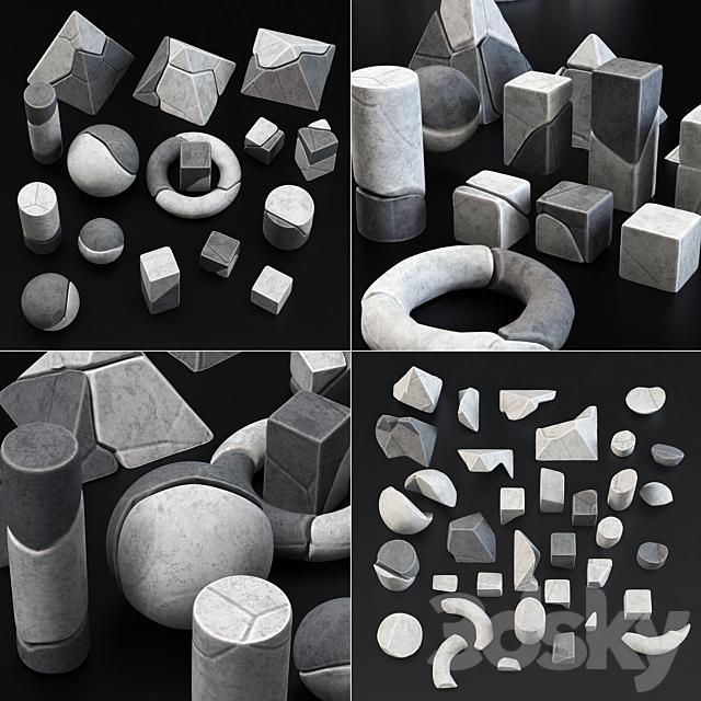 Stone splinter geometry decorative n1 / Decor from fragments of geometric shapes