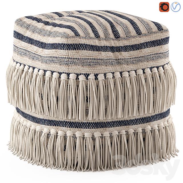 Network Rugs Bone Fringed Wool Ottoman