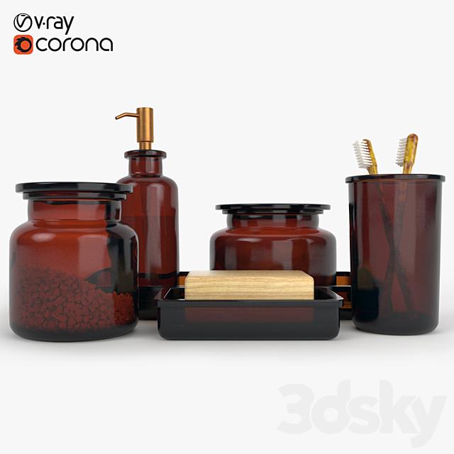 3d Models Bathroom Accessories Restoration Hardware Pharmacy Amber Glass Bath Accessories