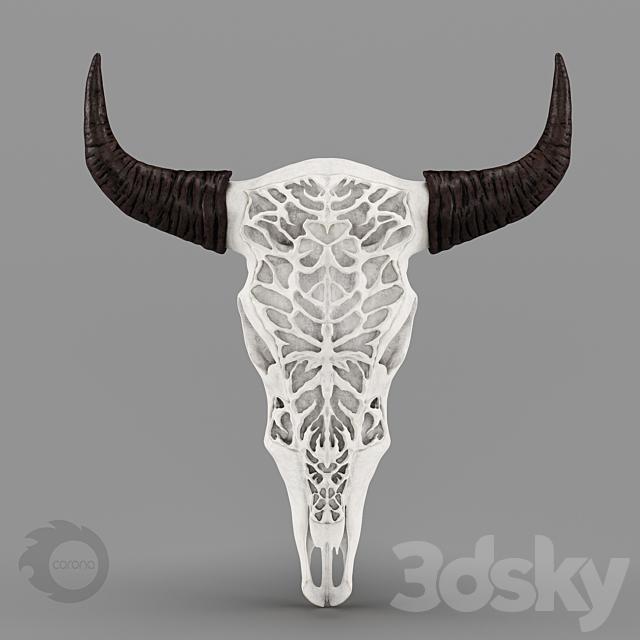 3d Models Sculpture Wall Decor Bull Skull With Bone Carving