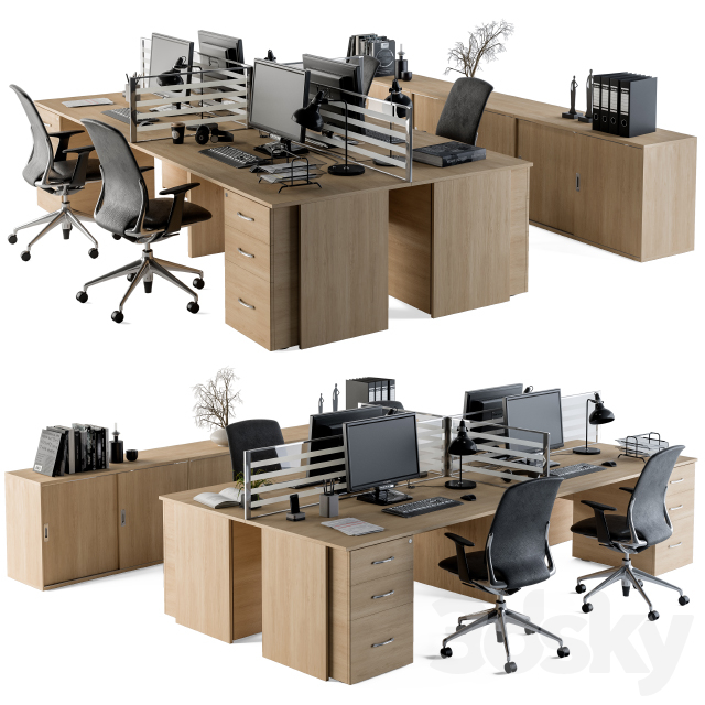Office Furniture - employee Set 08