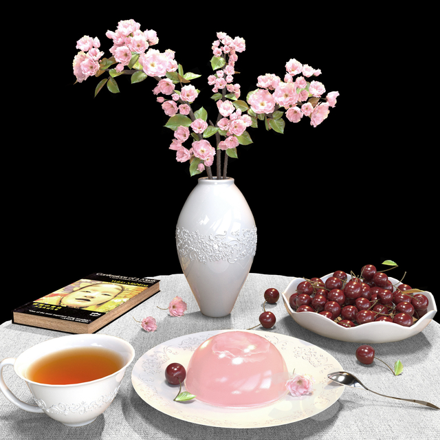 Sakura branches in a vase, sakura jelly, cherry