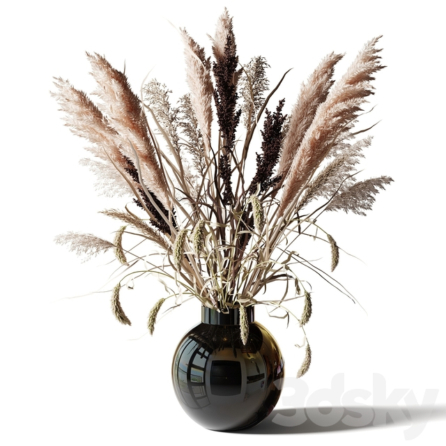 Bouquet of tall dry grass in a black vase