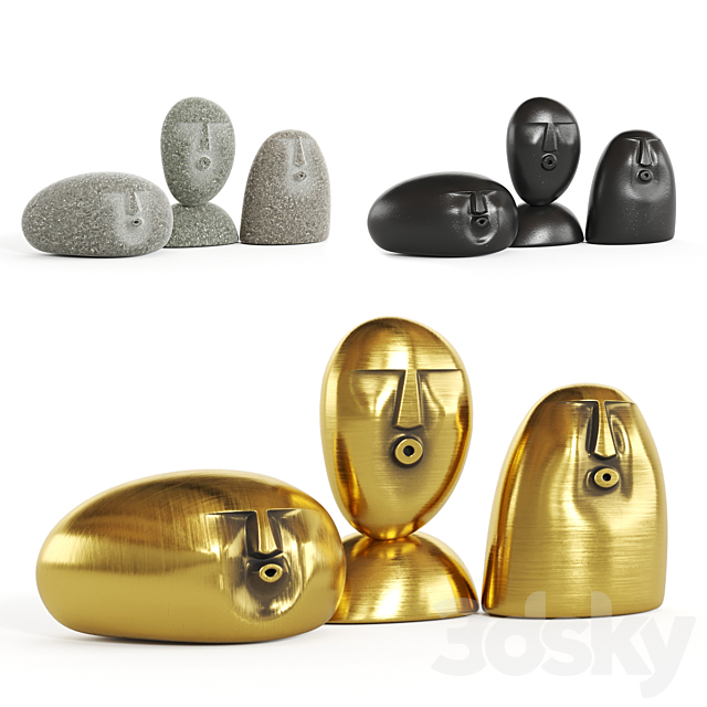Oof stones / Figurines in the shape of faces