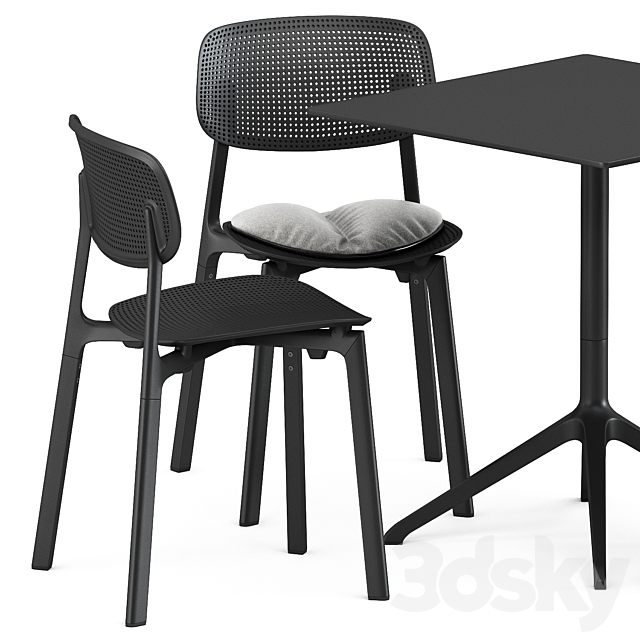 Colander chair and padded chair and Elephant square table by Kristalia