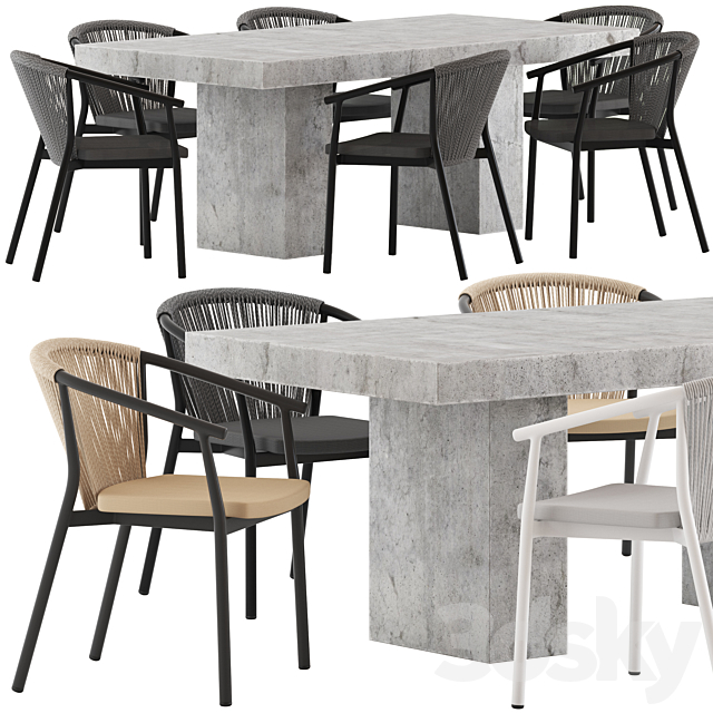 3d Models Table Chair Coco Republic Abbott Dining Table And Marco Chair