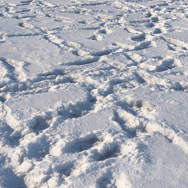 Snow material with footprints