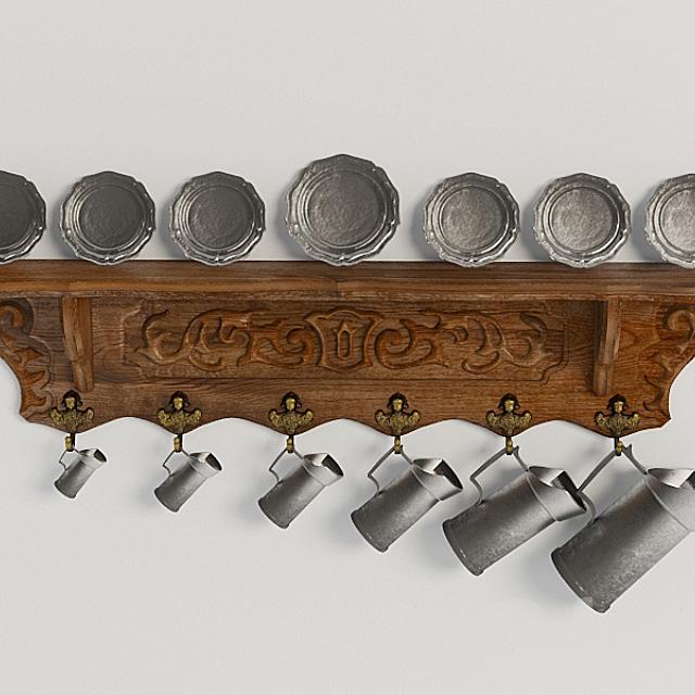 Декоративная полка-вешалка