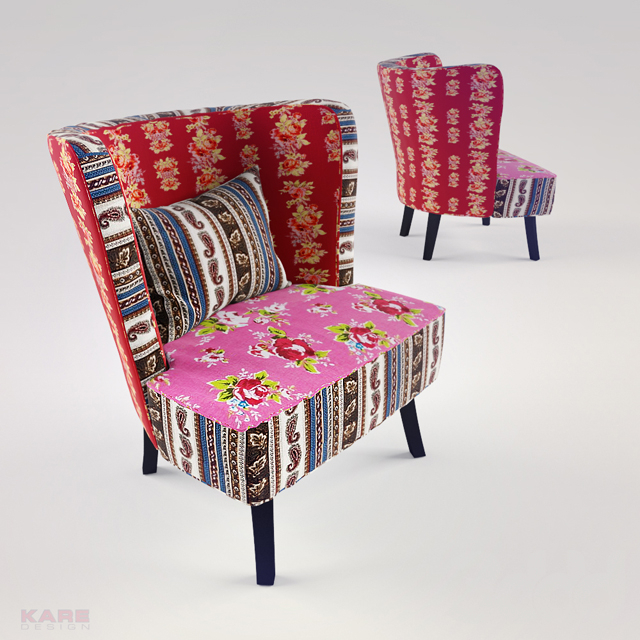 KARE Arm Chair Club Patchwork Red Surprise