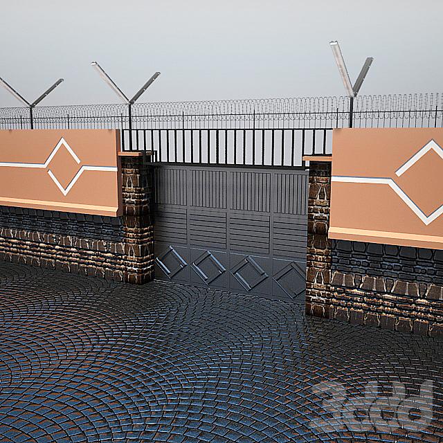 Забор с воротами и мощение