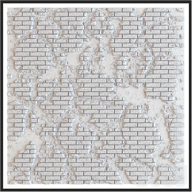 Бесшовная кирпичная стена со сколами и трещинами