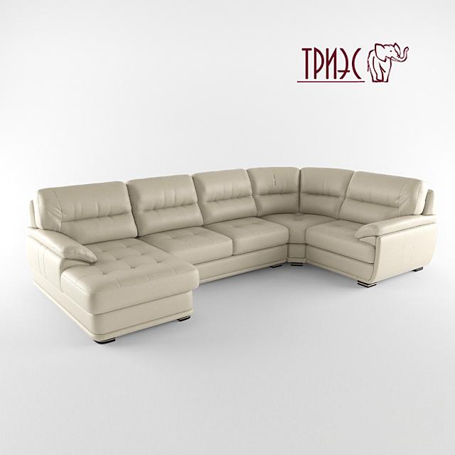 Модульный угловой диван с оттоманкой и баром  Диана-2 (фабрика ТРИЭС)